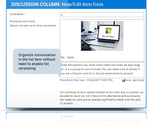 Discussion Column description, photo 1